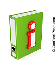 Green folder with red Info symbol.3d rendered. Isolated on...