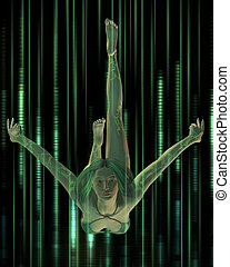 Digital Woman - diving - Woman with digital tattoos diving...