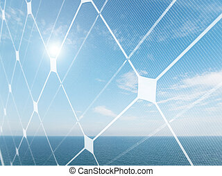 Solar energy concept - Seascape with shining sun and...