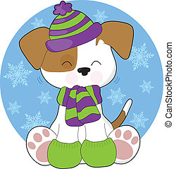 Cute Puppy Winter - A cute, shaking puppy wearing a toque,...