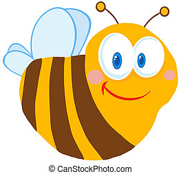 Happy Cute Bee Cartoon Character - Cute Bee Cartoon...