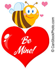 Cute Bee A Red Heart