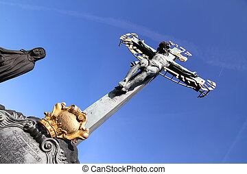 Cross in Prague - A cross on the Charles Bridge in Prague,...
