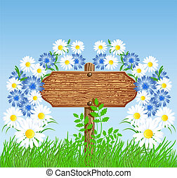 Signboard on the meadow with flowers