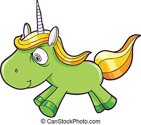 Toxic Crazy Green Unicorn Animal Vector