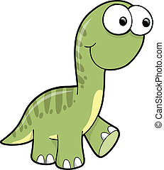 Goofy Silly Green Dinosaur Animal Vector