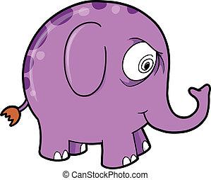 Crazy Purple Elephant Animal Vector