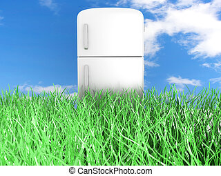 Ecologic Refrigerator - A classic Fridge 3D rendered...