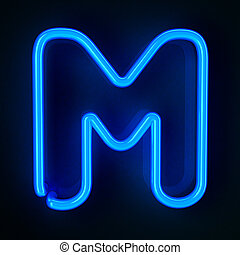 Neon Sign Letter M - Highly detailed neon sign with the...