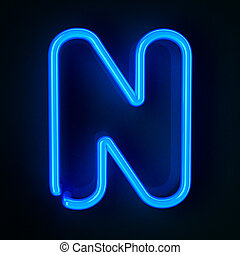 Neon Sign Letter N - Highly detailed neon sign with the...