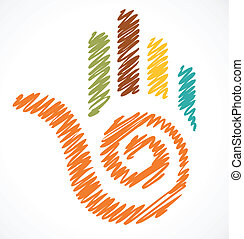 icon of crafty colorful hand - image of colorful hand,...