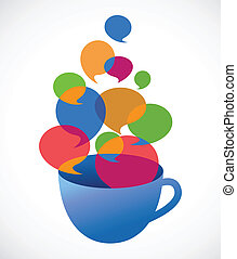 coffee cup with speech bubbles, vector illustration