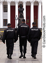 Police, Odessa - Police walking near the Palace of the City...