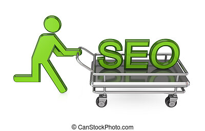 3d small person with a pushcart and big word SEO.