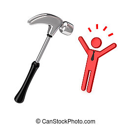 Big chromed hammer and stressed 3d small person.