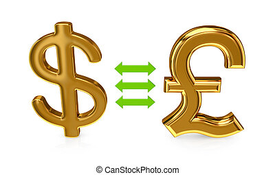 Dollar sign and pound sterling sign. - Dollar sign and pound...