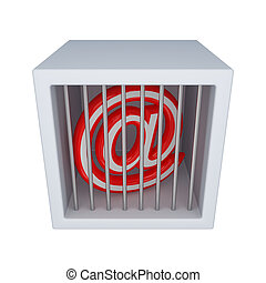 Email sign in a jailIsolated on white background3d rendered...