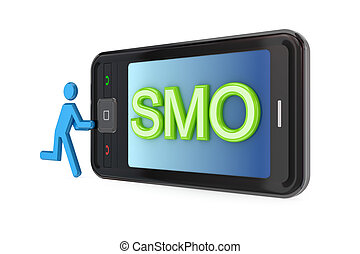 Modern mobile phone with big word SMO.