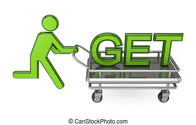 3d small person with a pushcart and big word GET.Isolated on...
