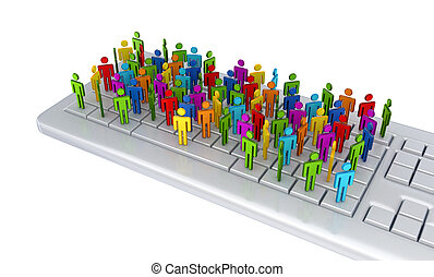 3d small people standing on a keyboard.