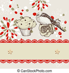 Bird and chocolate chips cupcake background for kids