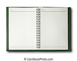 Green cover notebook on white background