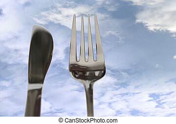 eating out knife and fork isolated in clouds - fork isolated...