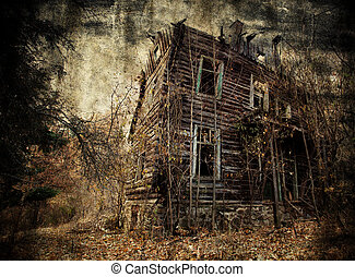 spooky house - Abandoned spooky house in textured background...