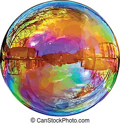Reflecting soap bubble. - Large reflecting soap bubble...
