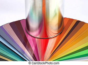 Tin can reflect colour sample chart - Paint tin can...
