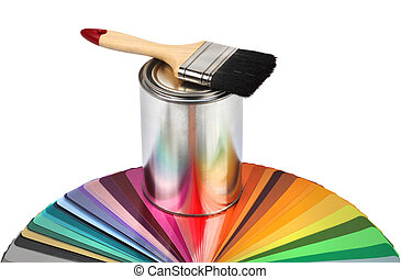 Paint brush and color guide samples - Paint brush, tin can...