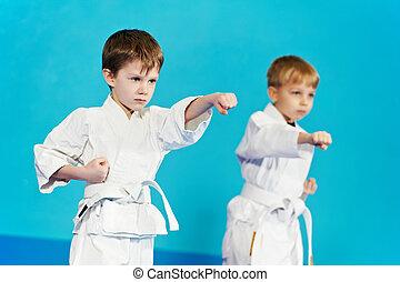 dos, niños, marca, karate, ejercicios