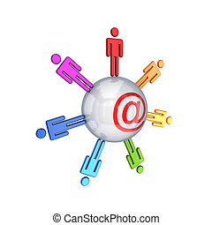 Social network concept.Isolated on white background.3d...