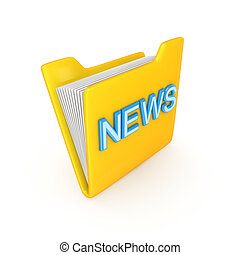 Yellow PC folder with a blue inscription NEWS.