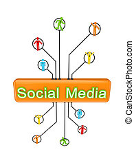 Social media Isolated on white background 3d rendered
