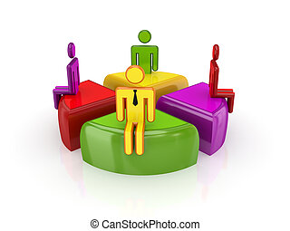 3d small people standing on a colorful graphIsolated on...