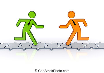 3d small people running on puzzlesIsolated on white...