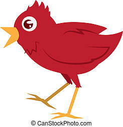 Red Bird Walking - Isolated red bird walking with mouth open...