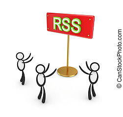 3d small people around red bunner with a word RSS