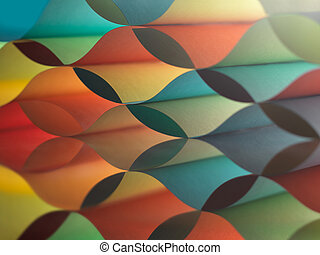 curved, colorful sheets paper with mirror reflexions