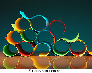 curved, colorful sheets of paper with reflexions -...