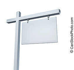 Blank White Real Estate Sign - Blank white real estate sign...