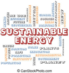 Sustainable Energy Blocked Word Cloud Concept