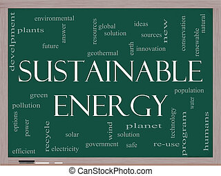 Sustainable Energy Word Cloud on Blackboard - A Sustainable...