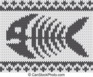 Knitted pattern with fish skeleton. EPS10 vector...