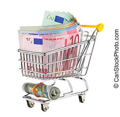 Shopping cart filled with cash