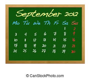 September 2012. - Calendar 2012, September.