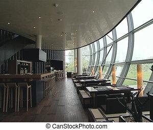 Original restaurant, modernist interior. A cozy romantic...