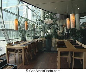 Modernistic restaurant interior. Cozy romantic atmosphere. -...