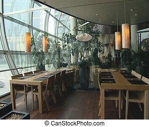 Modernistic restaurant interior. Cozy romantic atmosphere. -...